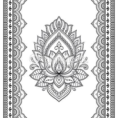 Set Of Mehndi Lotus Flower Pattern And Seamless Border For Henna