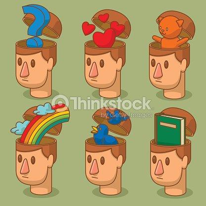 8c2f2419afb8f Set of men s heads with open braincases   Vector Art