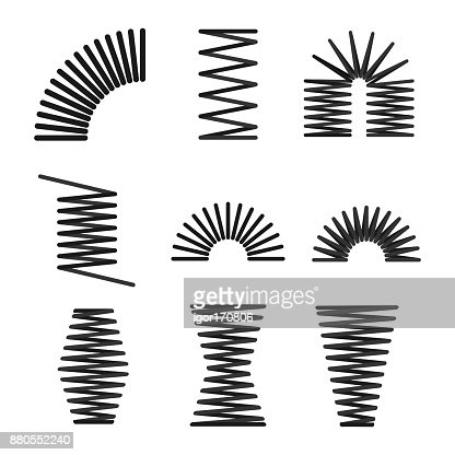 set of metal springs, spiral, flexible wire : stock vector