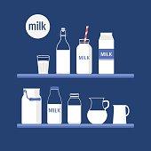 Vector set of packaging for milk. Milk shop. Flat design illustration