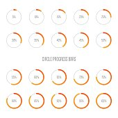 Set of minimal futuristic progress loading bars, design element for infographic and user interface, vector illustrationSet of minimal futuristic progress loading bars, design element for infographic a