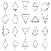 Set of minimalistic geometric elements. Geometry symbols collection. Vector illustration