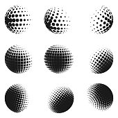 Set of minimalistic shapes. Halftone black color spheres isolated on white background. Stylish vector emblems. Vector spheres with dots, squares, rectangles for web designs. Simple signs collection