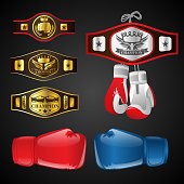 Set of MMA objects - modern vector realistic isolated clip art on dark background. Mixed Martial Arts items: boxing gloves, champion's belts, awards with titles and emblems. Blue and red mittens