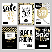 Black Friday sale banners. Vector illustrations of online shopping website and mobile website banners, posters, newsletter designs, ads, coupons, social media banners.