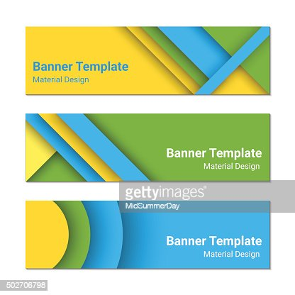Design Style set of modern colorful horizontal vector banners material design