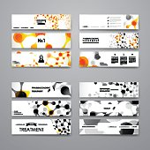 Set of modern design banner template in DNA molecule style. Beautiful design and layout