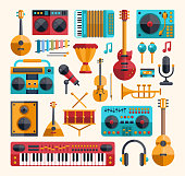 Set of vector modern flat design musical instruments and music tools icons