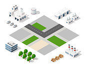 Set of modern isometric buildings and plants for sites and games