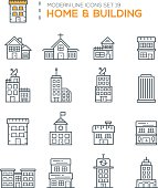 Set of Modern Line icons of Home & Building icons good choice to use in web projects , Applications and Other , Vector Design illustration.