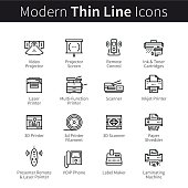 Set of modern office electronics devices. 3D printers, scanners, shredders, projectors and phones. thin black line art icons. Linear style illustrations isolated on white.