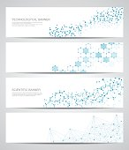 Set of modern scientific banners. Molecule structure DNA and neurons. Abstract background. Medicine, science, technology, business, website templates. Scalable vector graphics