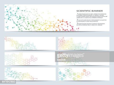 Ensemble de bannières scientifiques modernes. Molécule structure ADN et les neurones. Abstrait. Médecine, sciences, technologie, affaires, modèles de site Web. Graphiques vectoriels évolutifs. : Clipart vectoriel