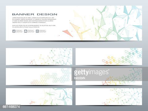 Set of modern scientific banners. Molecule structure DNA and neurons. Abstract background. Medicine, science, technology, business, website templates. Scalable vector graphics : Vector Art