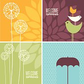 set of modern Spring designs with flowers, cute birds and rain for greeting cards, banners, stationary, scrapbooking