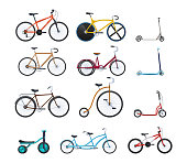 Set of summer vehicles for transportation, city bicycles: travel and walks, sports races, children's scooters, kids bicycles, circus, family, walking. Cycling, bike and bicycle. Vector illustration.