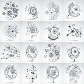 Set of modular Bauhaus 3d vector backdrops, created from geometric figures like hexagons, circles and lines. For use as advertising poster or banner design. Perspective abstract mechanical schemes.