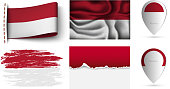 set of monaco flags collection isolated on white