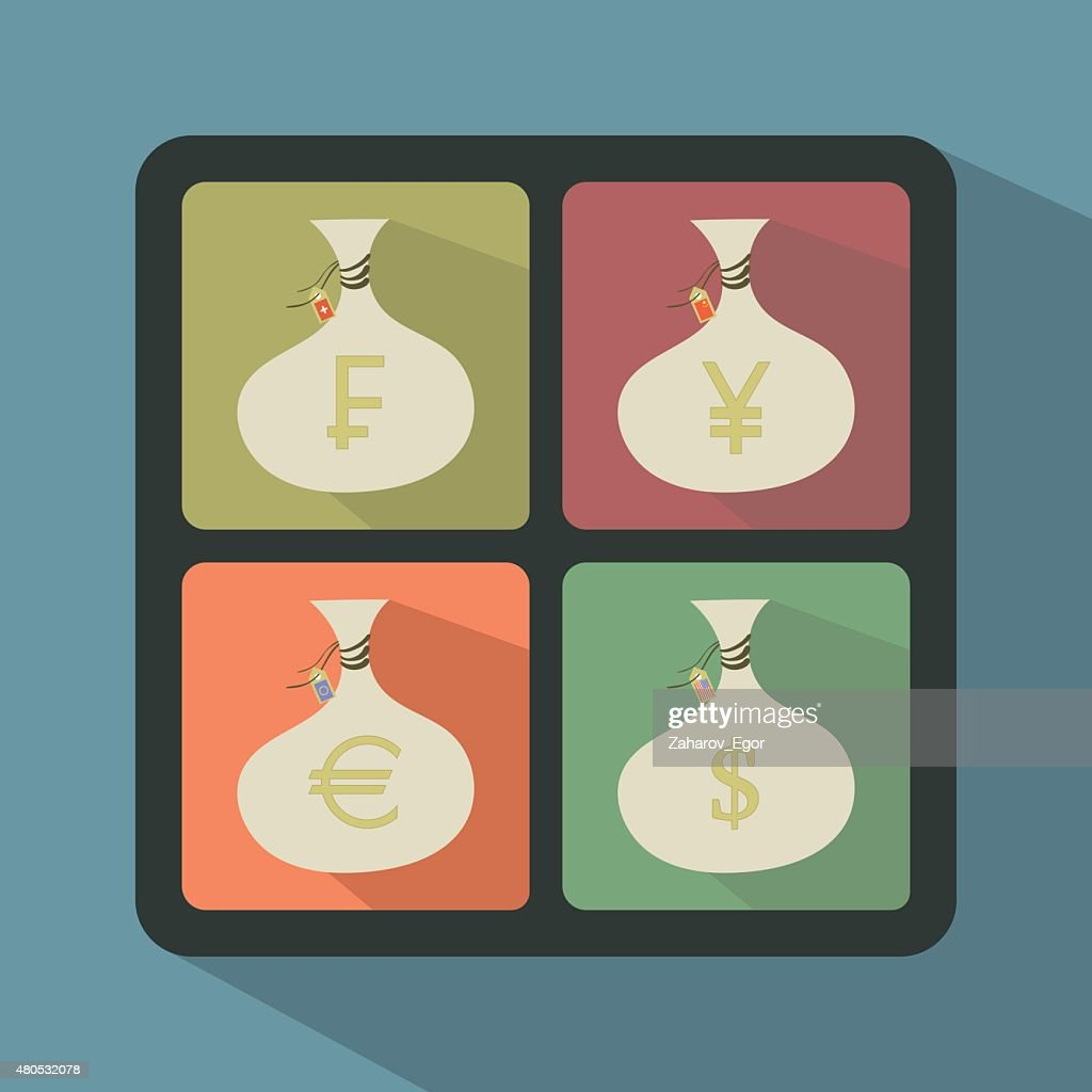 Set of Money Bags with currency symbols : Vector Art