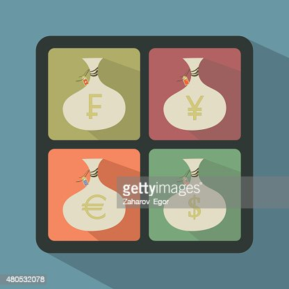 Set of Money Bags with currency symbols : Vektorgrafik