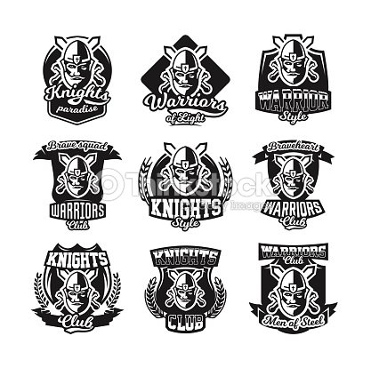 Set Of Monochrome Icons Emblems Knight In Helmet Against The ... a52f778e9