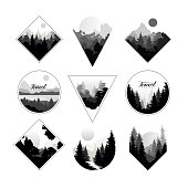 Collection of monochrome landscapes in geometric shapes circle, triangle, rhombus. Natural sceneries with wild pine forests. Flat design for print, company logo or camping logo. Vector illustration.