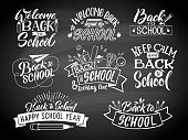 Set of monochrome school labels. Vector emblem design for education center or university. Back to school badge and welcome on chalkboard illustration