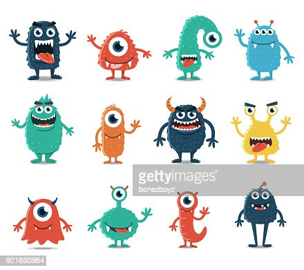 Set of Monsters Isolated on White Background : Vector Art