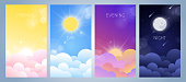 Set of morning, day, evening and night sky illustration with sun, clouds, moon and stars, sunset and sunrise. Weather app screen, mobile interface design