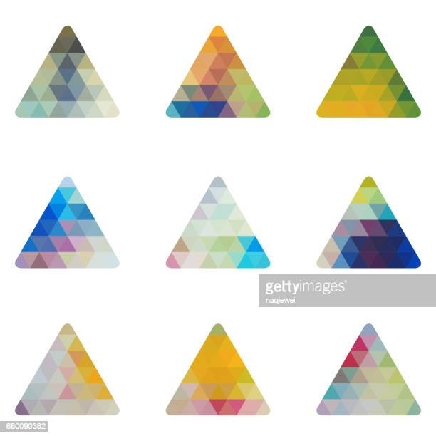 Set of Mosaic Triangle Vector Pattern Icon