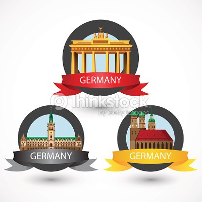 Set Of Most Famous German Landmarks High Detailed Colorful Style