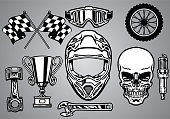 vector of set of motocross racing with skull