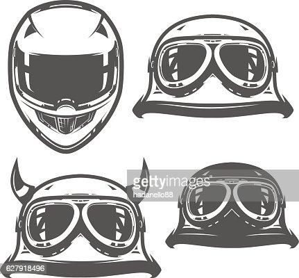 Set of motorcycle helmet vintage : stock vector