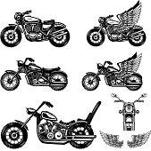 Set of motorcycle illustrations . Design element for label, emblem, sign, poster. Vector image