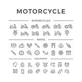 Set of motorcycle related line icons isolated on white. This illustration - EPS10 vector file.