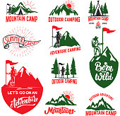Set of mountain camping, outdoor adventure, mountains labels. Design elements for label, emblem, sign. Vector illustration