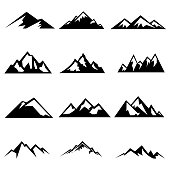 Set of mountains silhouettes. Mockups for creating logo, badges and emblems. Vector illustration