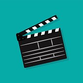 Clapperboard icon. Movie production sign. Video movie clapper equipment. Filmmaking device. Isolated on background. Vector illustration, eps 10