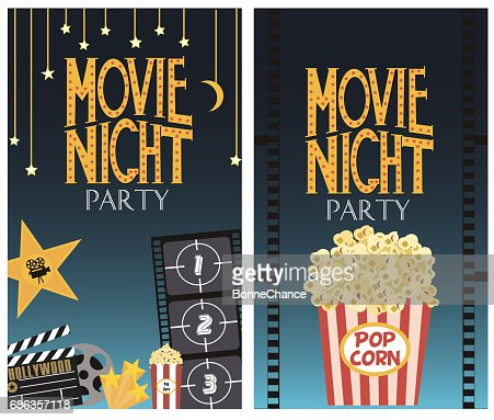 Set of Movie night party card : Vector Art