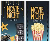 Set of Movie night party invitation cards. Vector illustration
