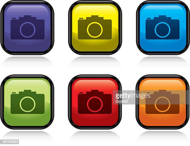 A set of multicolored camera icons