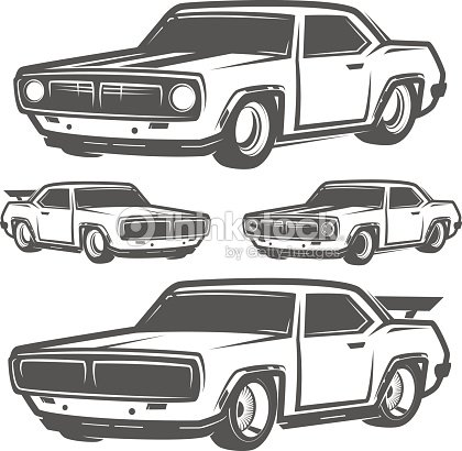 Set Of Muscle Car For Icon And Emblemsretro And Vintage Styledrag