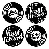 Vector black and white set of music icons in the form of vinyl records with calligraphic inscriptions Vinyl record, Retro music