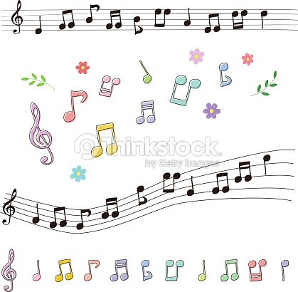 set of music notes in handdrawn style ベクトルアート thinkstock