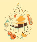Classical musical instruments in vintage hand-draw style