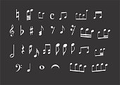 Illustration of a set of musical notes on dark background