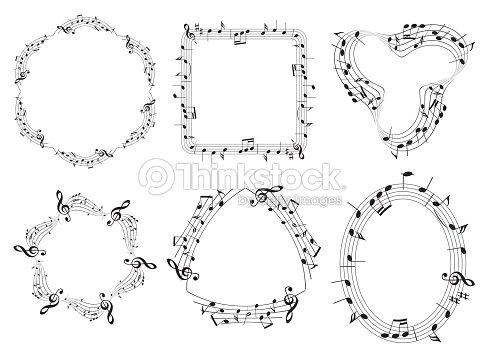 Set Of Musical Vector Frames With Music Notes Vector Art | Thinkstock