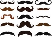 A vector illustration of fifteen different mustaches. Each mustache is grouped separately. Use one or all fifteen!