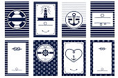 Nautical wedding invitation card templates.  Marine design elements theme. Vector illustration