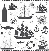 Set of silhouettes of sailing ships with nautical design elements isolated on white background. Compass rose, anchor,  beacon, bell, lighthouse, shark, skull, steering wheel, windrose. No trace. Vecto